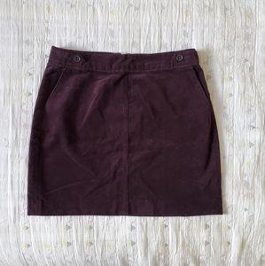 Banana Republic Dark Plum Corduroy Mini Skirt 0